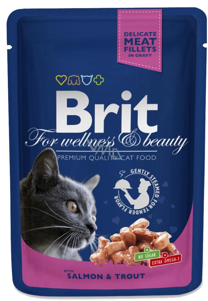Kačių maistas Brit Premium konservai Salmon&Trout 24 x 100gr.