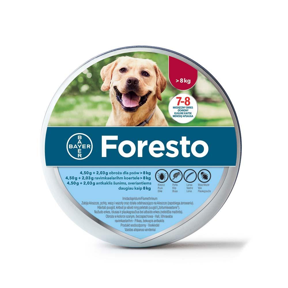 FORESTO antkaklis prieš erkes šunims virš 8 kg.