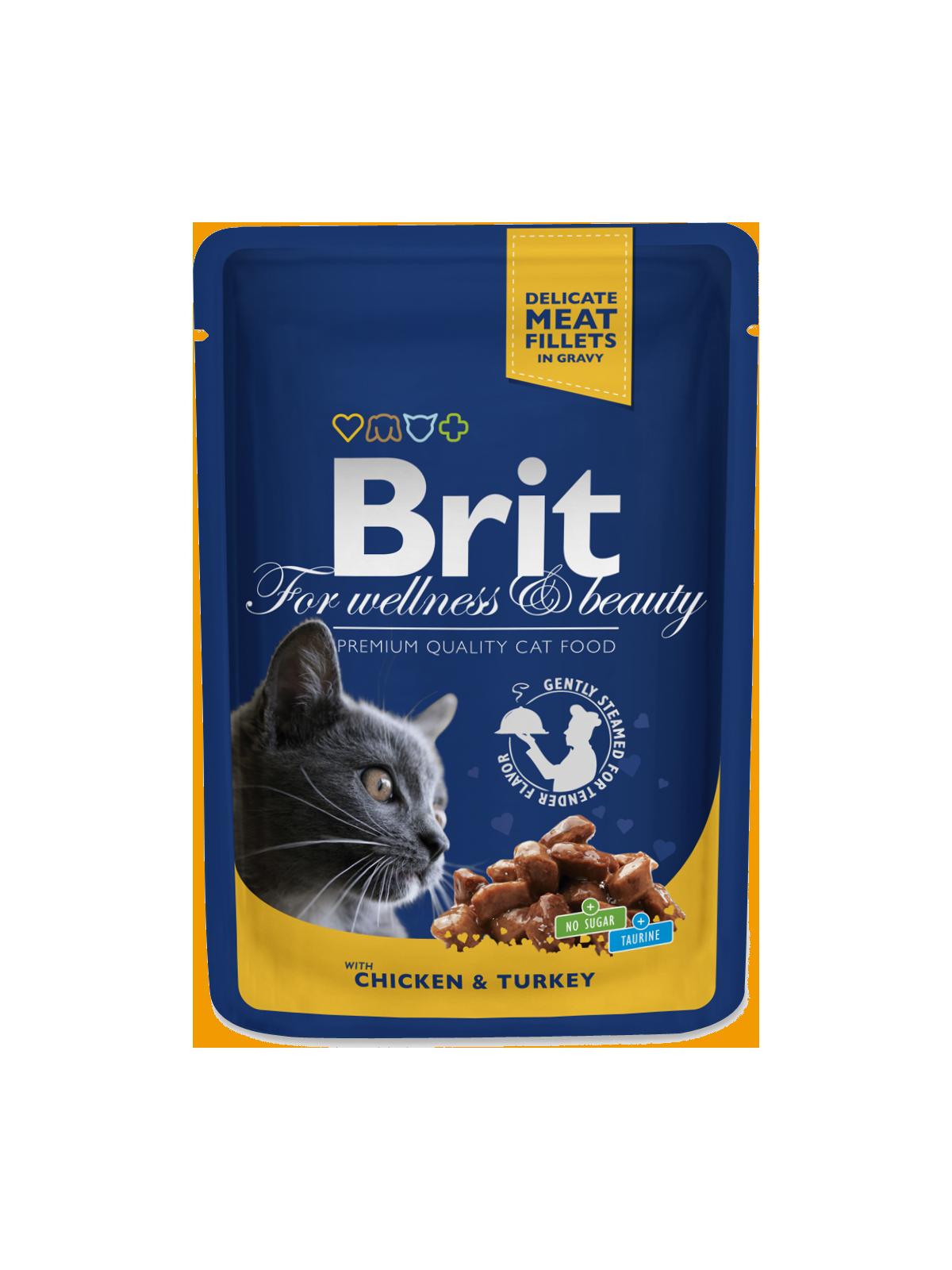Kačių maistas Brit Premium konservai Chicken&Turkey 24 x 100g