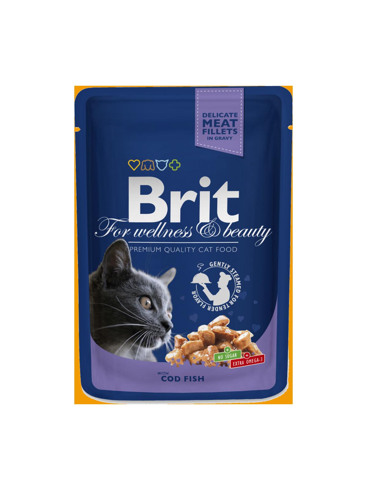 Kačių maistas Brit Premium konservai Cod Fish 24 x 100g