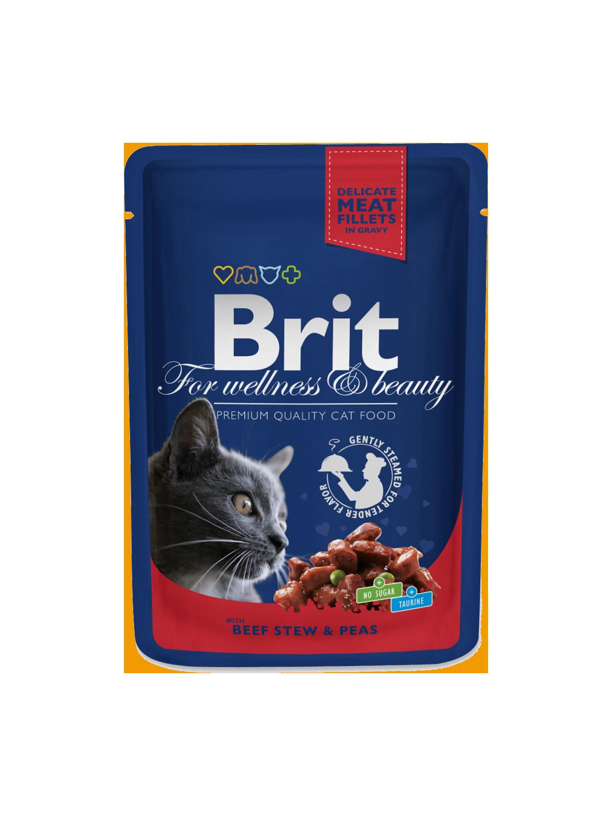 Kačių maistas Brit Premium konservai Beef Stew&Peas 24 x 100g
