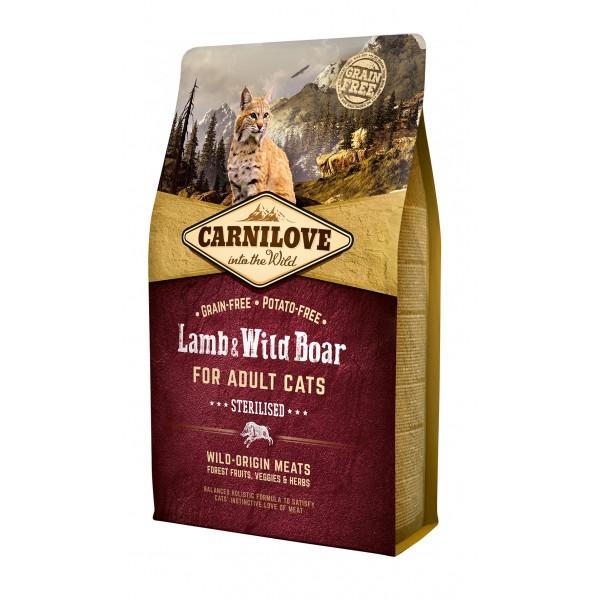 Begrūdis kačių maistas Carni Love Lamb&Wild Boar Adult Cat Sterilised 2kg.