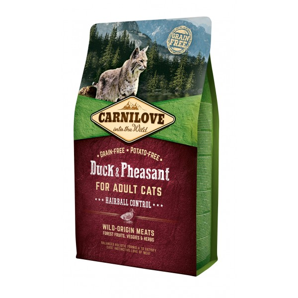 Begrūdis kačių maistas Carni Love Duck&Pheasant Adult Cat Hairball Control 2kg.