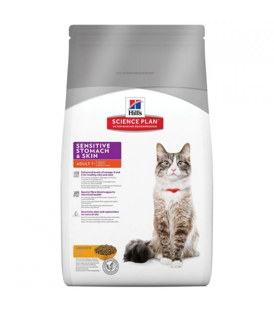 Kačių maistas Hills Feline  Adult Sensitive Stomach and Skin 5kg.