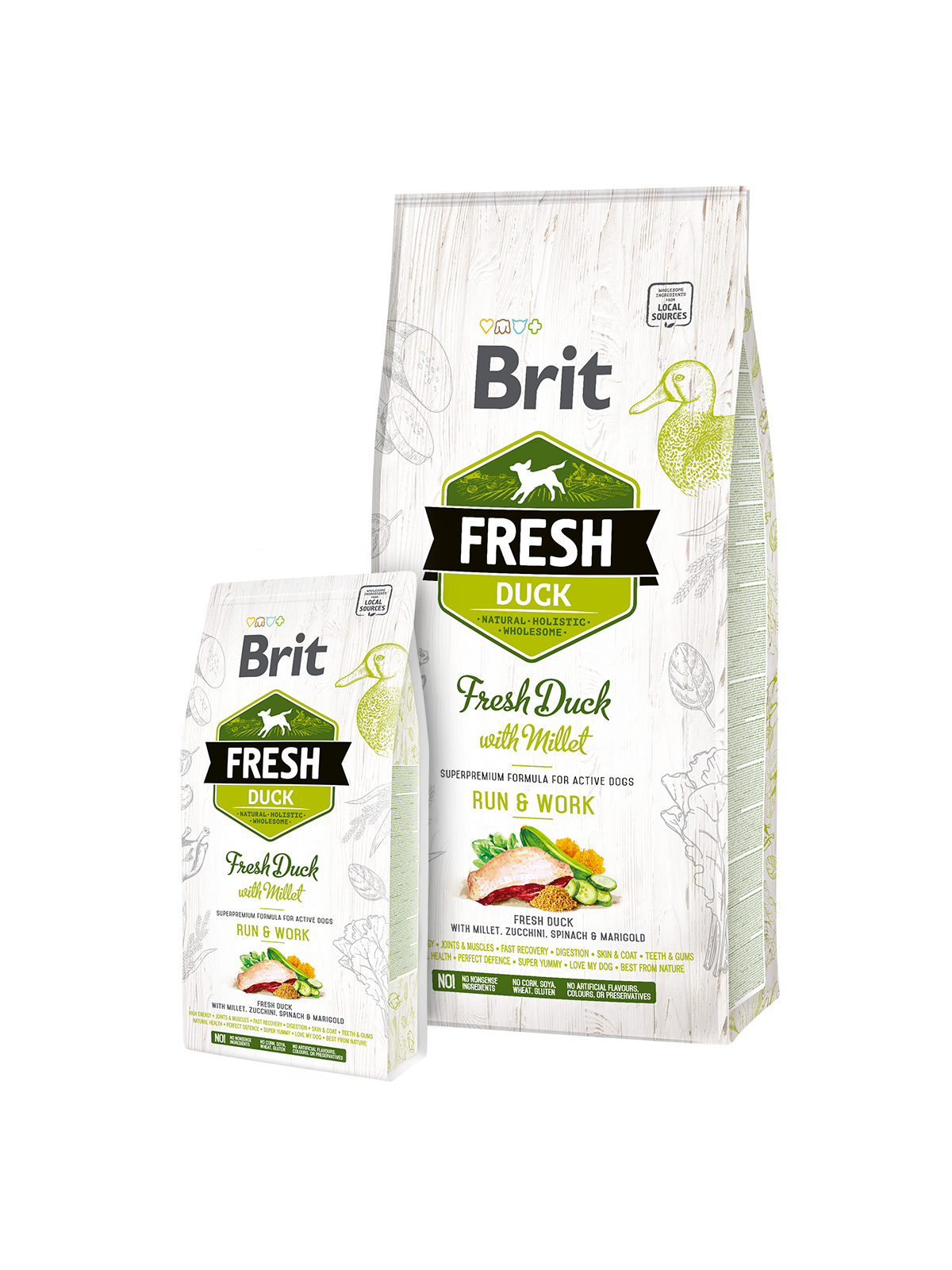Brit Fresh Duck with Millet Active Run&Work 2,5kg