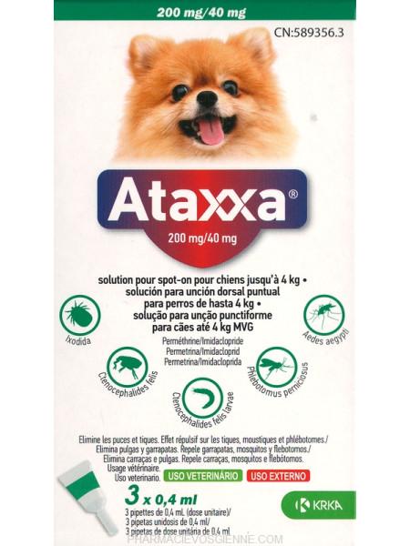 Ataxxa lašai prieš erkes šunims iki 4kg. N4