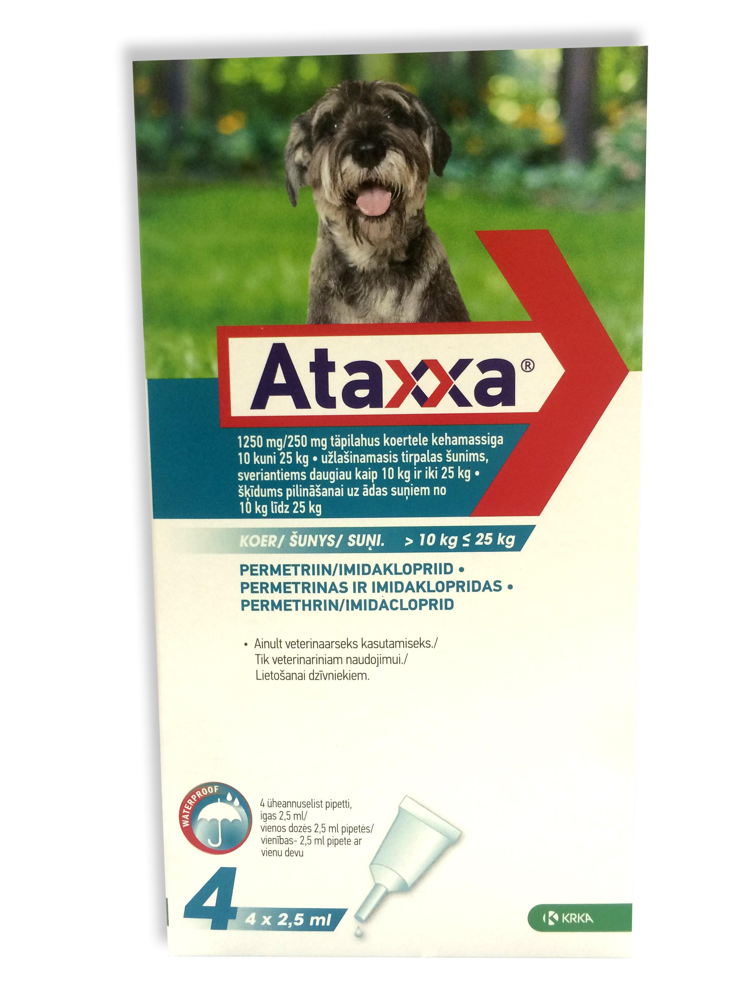 Ataxxa lašai prieš erkes šunims 10-25kg.N4