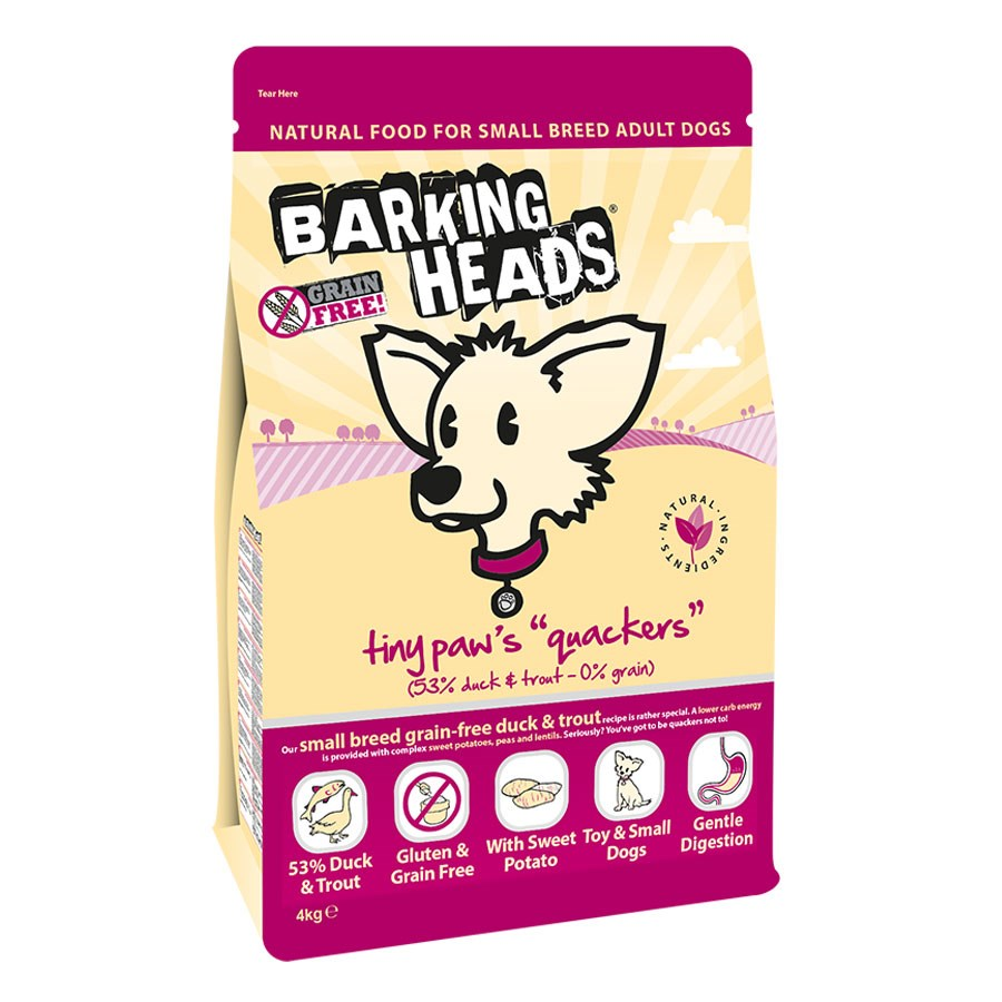 Barking Heads Tiny Paws Quackers Grain Free 4kg.