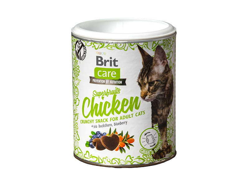 BRIT CARE Cat Superfruits Chicken skanėstai 100gr.