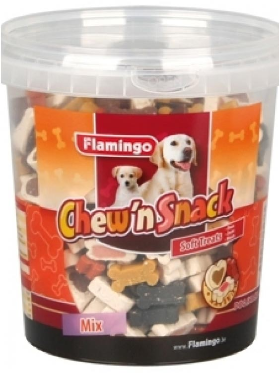 Flamingo Chew'n Snack kauliukai miksuoto skonio 500g