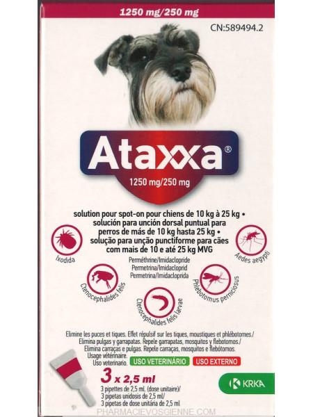 Ataxxa lašai prieš erkes šunims 10-25kg. N1