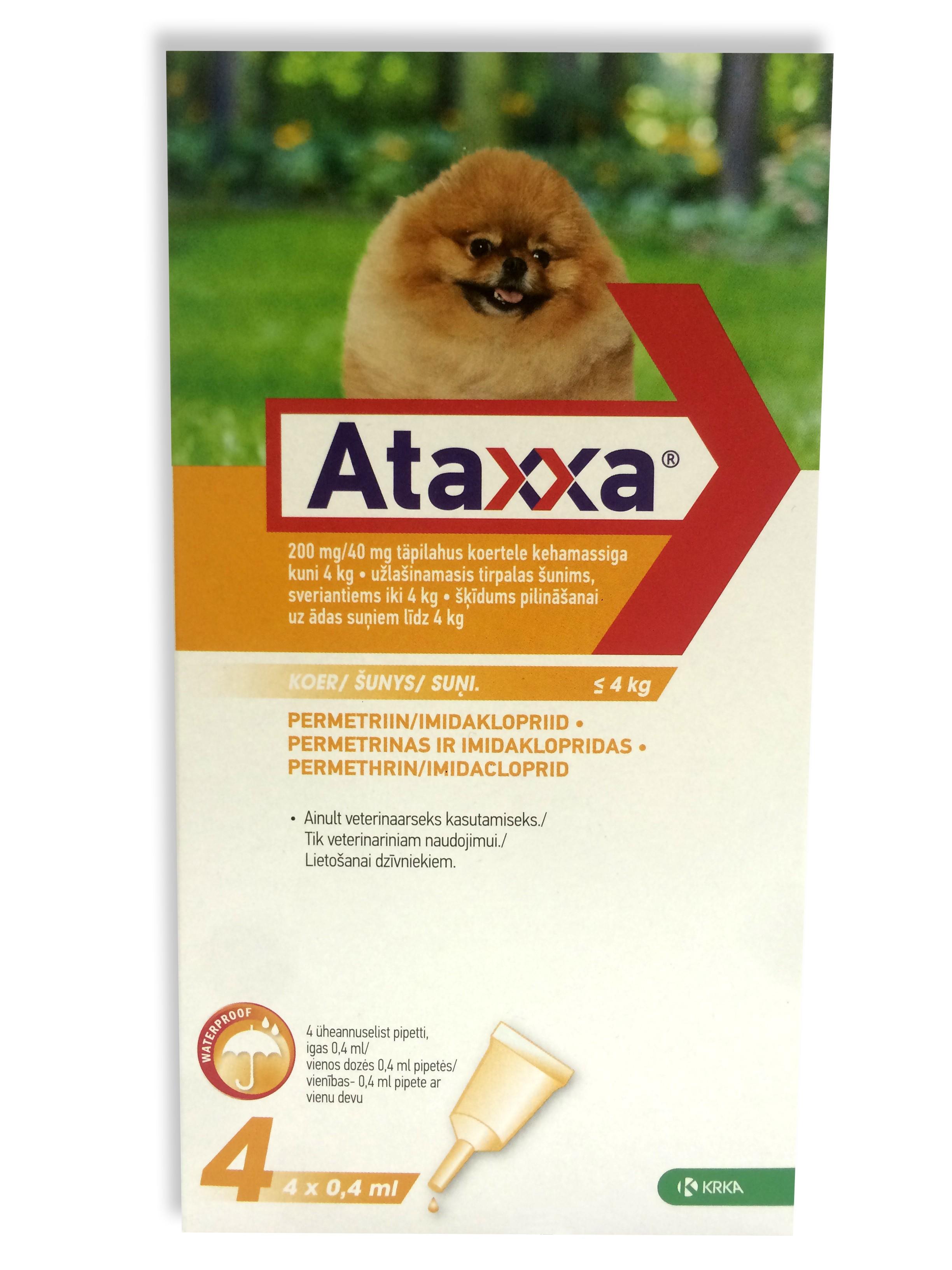 Ataxxa lašai prieš erkes šunims iki 4kg. N1