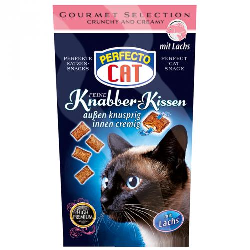 Perfecto Cat traškios pagalvėlės katėms su kreminiu lašišų įdaru 50g