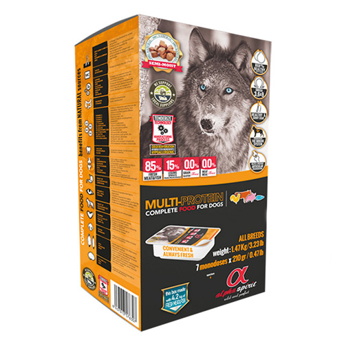 Begrūdis maistas šunims Alpha Spirit Dog Food MULTI COMPLETE  210gr indelis