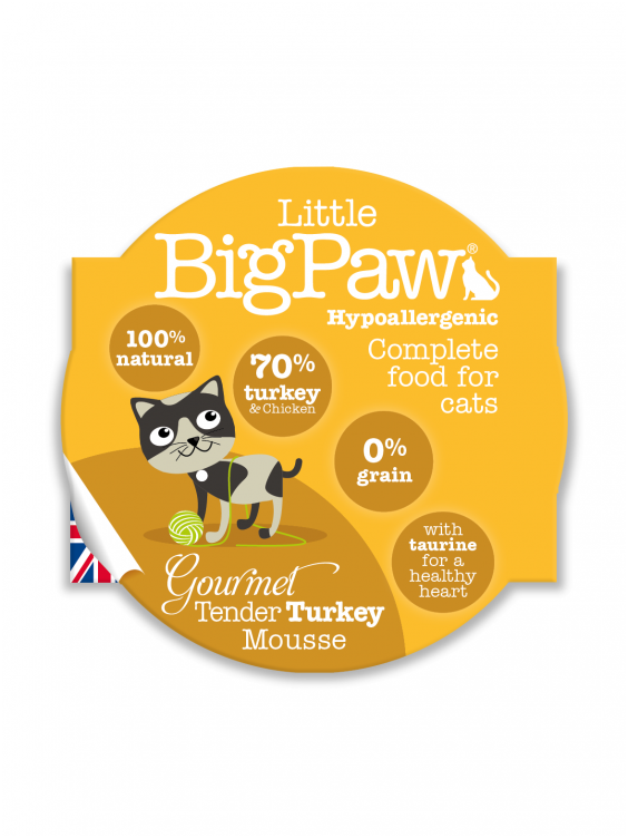 Konservai katėms Little Big Paw Tender Turkey 85g
