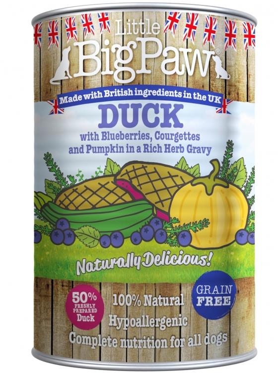 Konservai Šunims Big Paw Duck, Bluberries, Courgette, Pumpkin & Herbs 390g