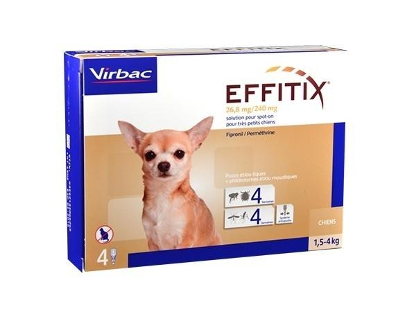 Virbac Effitix lasai šunims, 1,5-4 kg svorio 4 vnt.