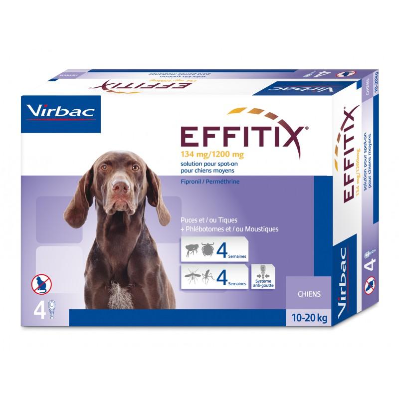 Virbac Effitix lašai šunims 10-20 kg svorio 4vnt.