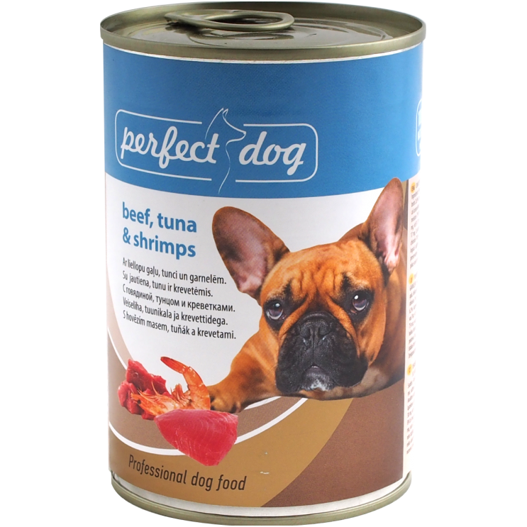 Perfect dog beef, tuna and shrimps 400g