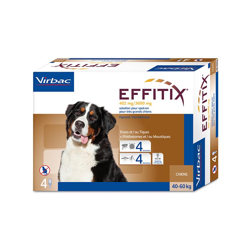 Virbac Effitix lašai šunims, 40-60 kg svorio 4vnt.
