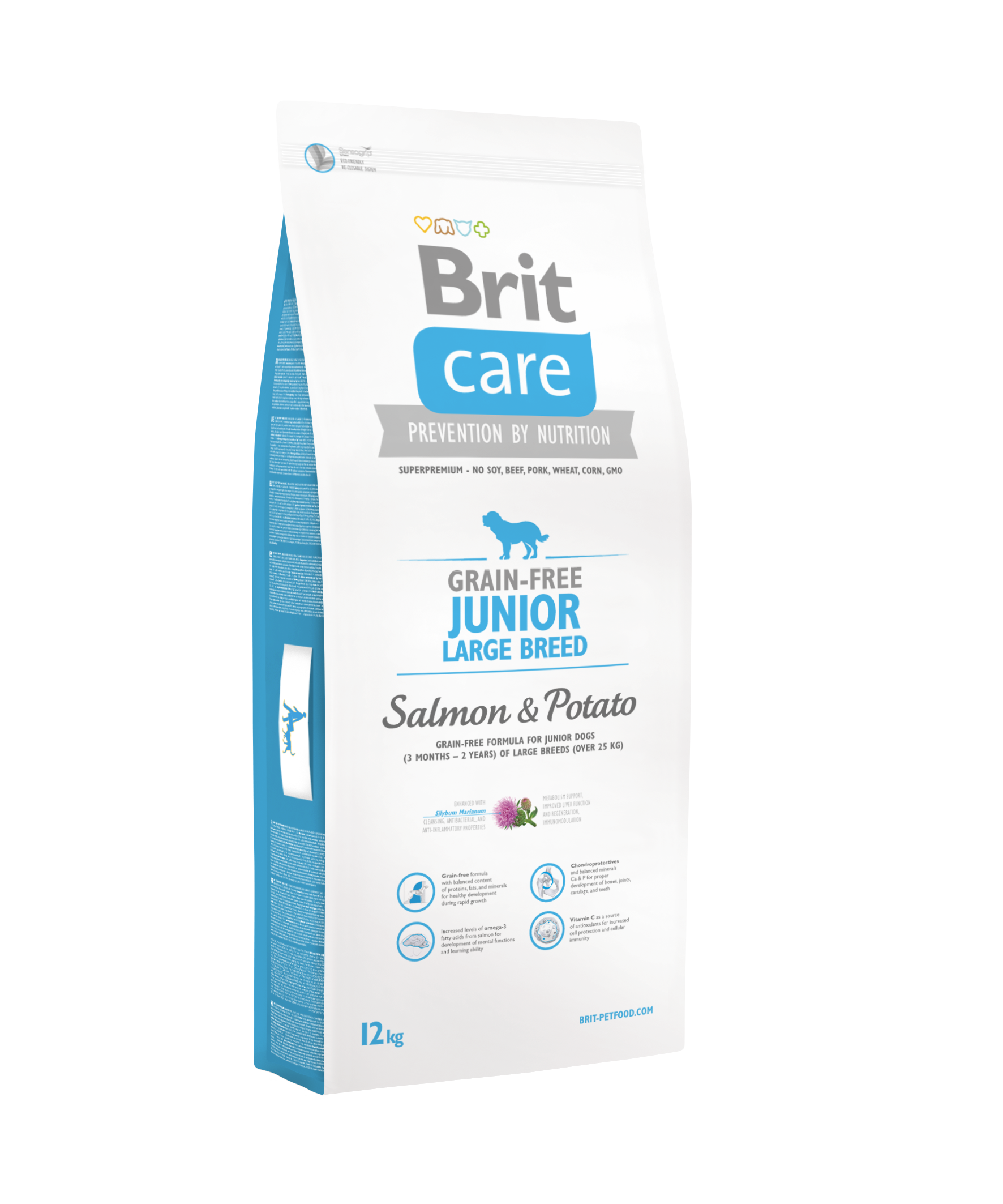 Brit Care Grain-free Junior Large Breed Salmon & Potato 12+2kg