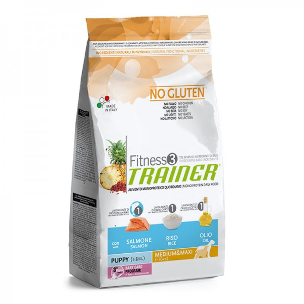 Trainer Fitness 3 Puppy&Junior Med/Maxi Salmon-Rise-Oil 12.5kg