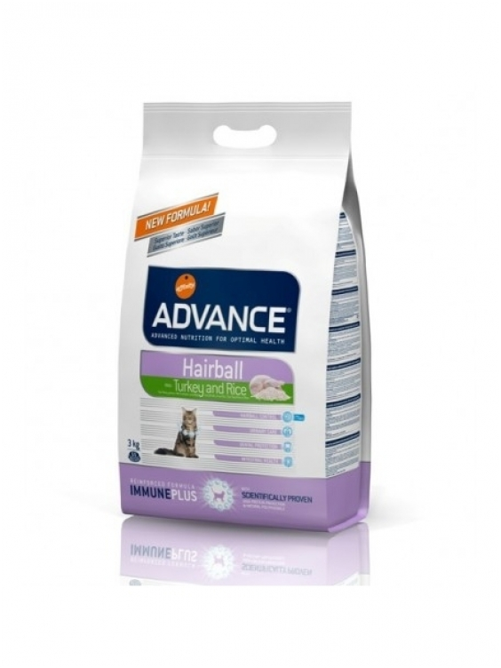 Kačių maistas Advance Hairball Turkey & Rice 1,5kg