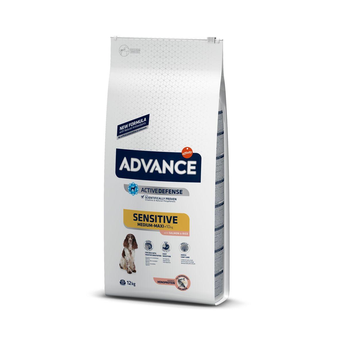 Šunų maistas Advance Adult Sensitive Salmon Rice 12kg.