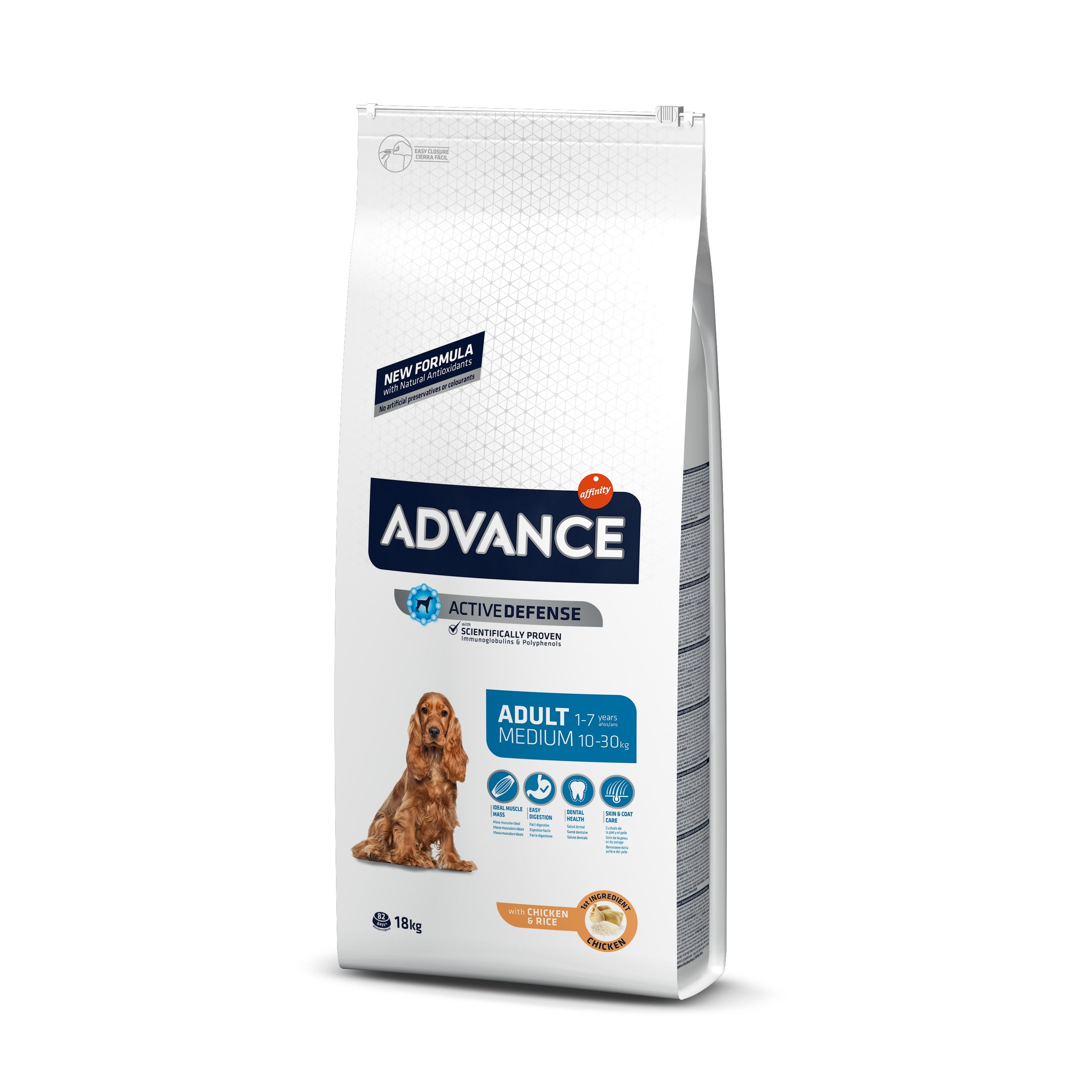 Šunų maistas Advance medium adult chicken rice 18kg
