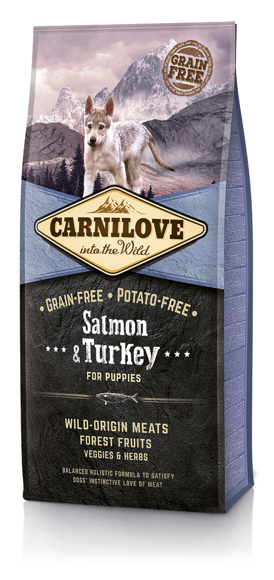 Begrūdis Šunų Maistas Carni Love Salmon & Turkey Puppy 12kg