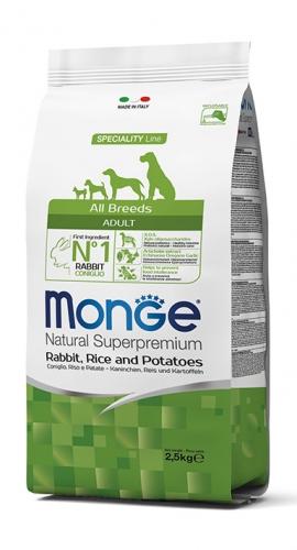 Monge su triušiena, ryžiais ir bulvėmis suaugusiems visų veislių šunims 12kg