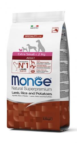 Monge Extra Small Adult ėriena ir ryžiais labai mažų veislių šunims 2,5kg
