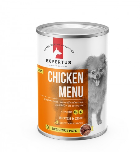 Expertus Dog Chicken Menu konservai 400gr