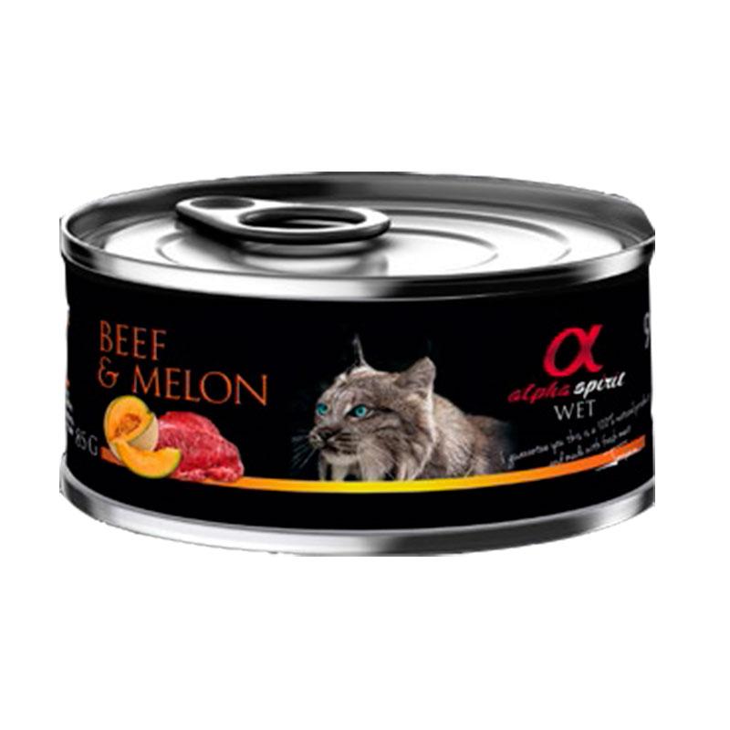 Alpha Spirit koncervai katėms su jautiena ir melionais 85g