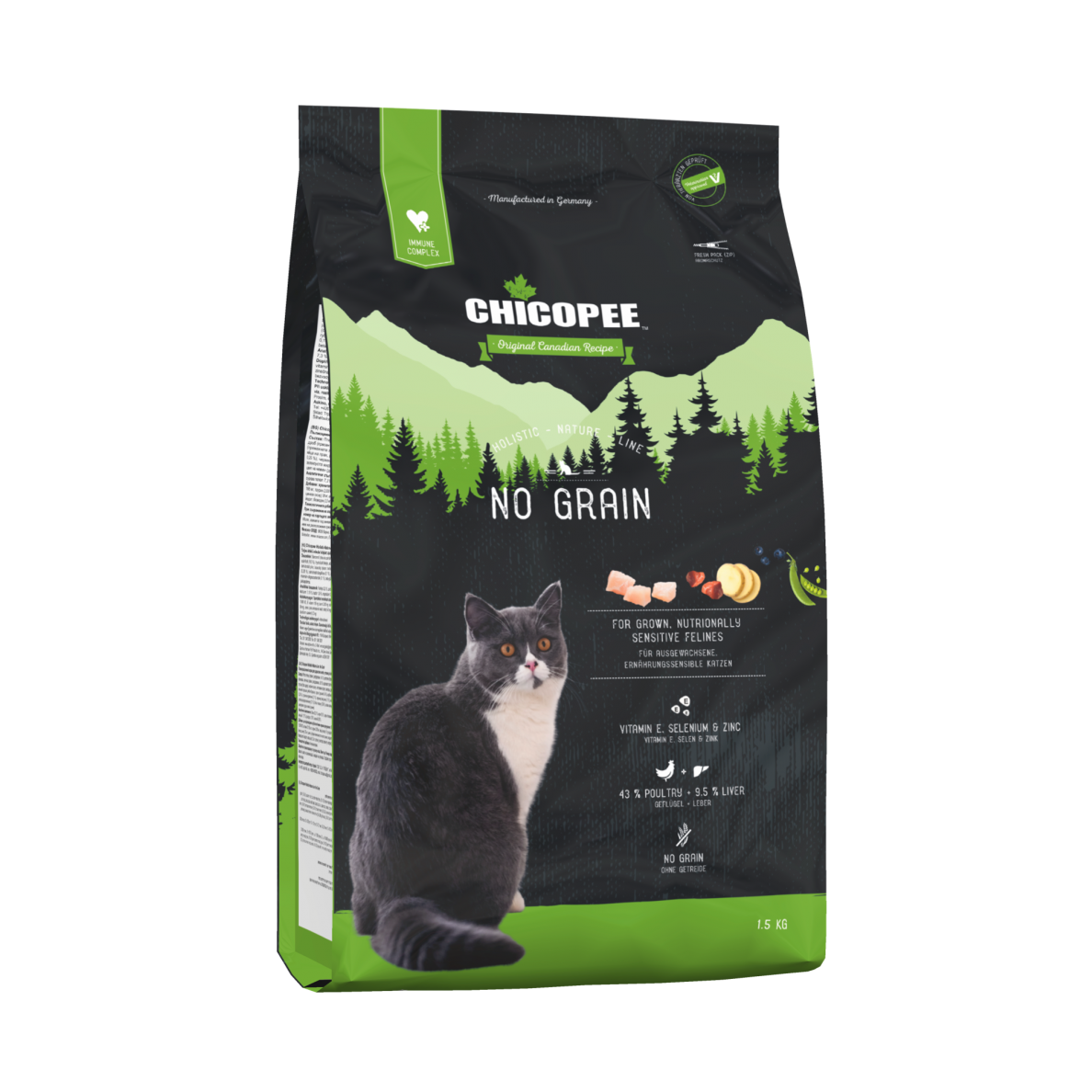 Kačių maistas CHICOPEE Holistic NO GRAIN 8kg.