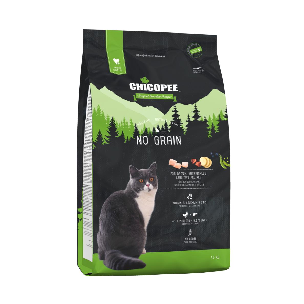 Kačių maistas CHICOPEE Holistic NO GRAIN 1,5kg.