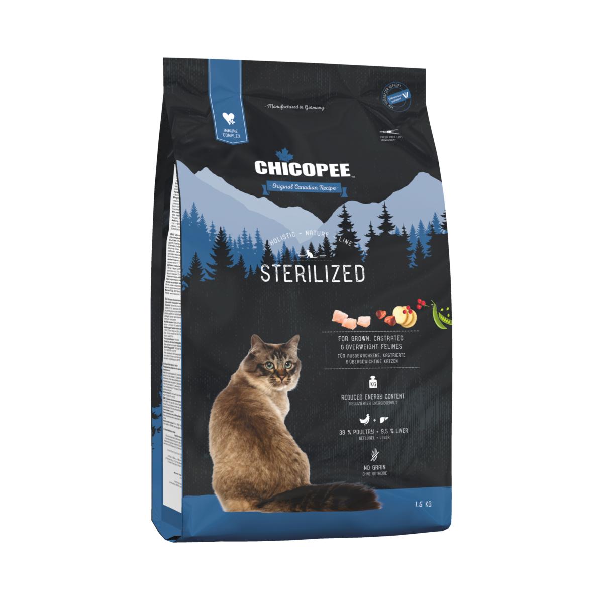 Kačių maistas CHICOPEE Holistic STERILIZED 8kg.