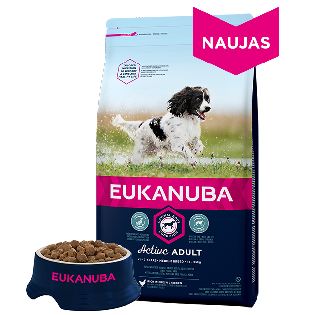 Eukanuba Active Adult Medium Breed chicken 15kg.