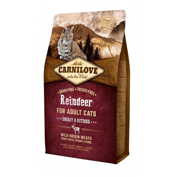 Begrūdis kačių maistas Carni Love Reindeer Adult Cat Energy&Outdoor 6kg.